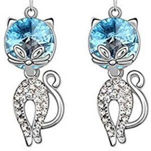 Jewelry - NWT Blue Swarovski Crystal Cat Earrings
